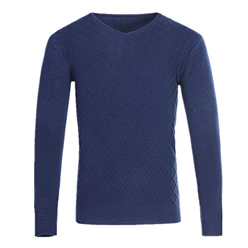 U/A - Sudadera con cuello en V para hombre Azul azul marino XXL