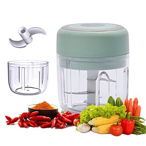 HomeMall Mini picadora eléctrica eléctrica para ajo con carga USB, robot de cocina portátil para pimienta, ajo, chili, tuercas de verduras (100 ml + 250 ml)