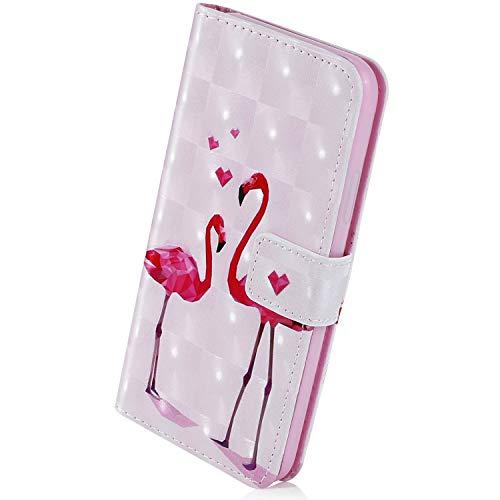 Herbests Kompatibel mit Huawei Mate 20 Lite Handyhülle Handytasche Leder Hülle Bunt Glitzer Bling Glänzendes Leder Schutzhülle Flipcase Brieftasche Hülle Wallet Tasche,Rosa Flamingos
