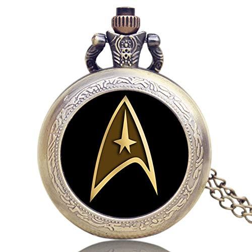 Reloj de bolsillo vintage Star Trek reloj de bolsillo para hombres, collar colgante de cuarzo reloj de bolsillo regalo