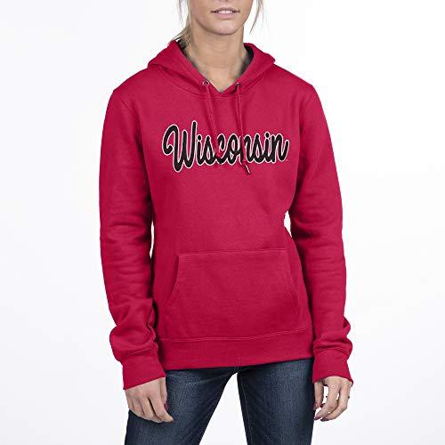 Top of the World NCAA Damen Kapuzenpullover, Fleece, Damen, Essential Fleece Hoodie Sweatshirt, Wisconsin Dachshalter, Rot, Medium