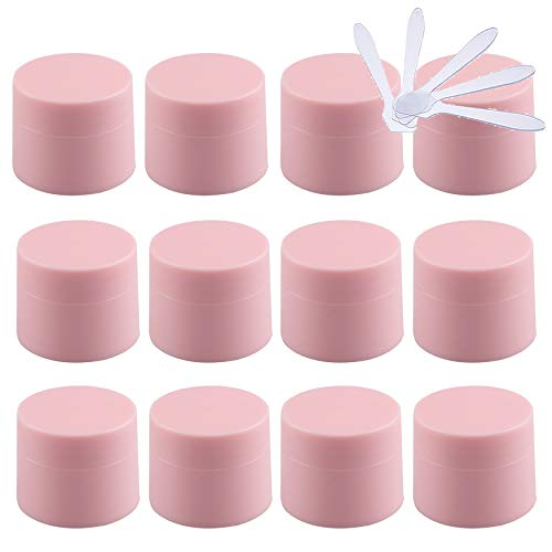 TIANZD Pack of 48,Empty5mlForsted Pink Plastic Cosmetic Jars with Screw Lid, 5g Small Matte Containers for Homemade Cream Gel Lip Balm Salve Storage Pot + 5X Spatula (NO Inner Liner)