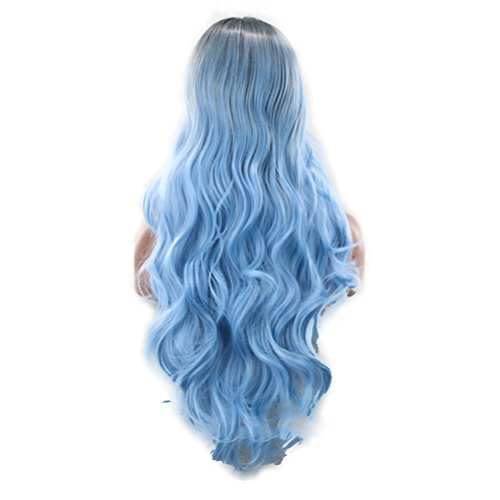 Frcolor Parrucca lunga ricci parrucca Lolita Anime Cosplay parrucche nero blu ombretto