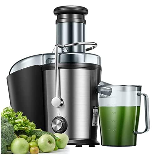 Licuadoras para Verduras y Frutas, 800W 75mm Boca Ancha Extractor de Jugos con 2 Velocidades, Pies Antideslizantes, Fácil de Limpiar, Diseño Antigoteo, Libre de BPA