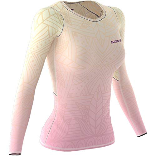 SMMASH Leaves Flower Womens Long Sleeve Compression Tops, Breathable and Light, Functional Thermal Shirt for Crossfit, Fitness, Yoga, Gym, Running, Sport Long Sleeved, Antibacterial Material… (S)