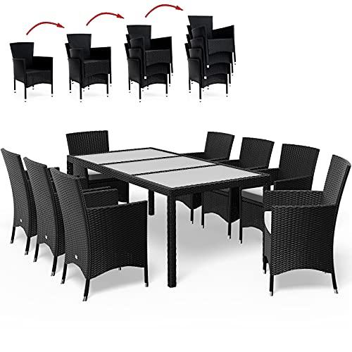 Deuba Salon de Jardin 17 pièces en polyrotin Noir - 8 Chaises empilables 1 Table avec Plateau en Verre - 8 Coussins Beige