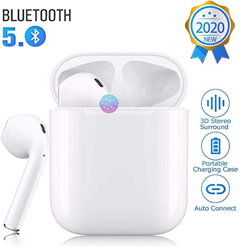 Bluetooth 5.0 Wireless Earbuds Headsets Bluetooth Headphones 【24Hrs Charging Case】 3D Stereo IPX5 Waterproof Pop-ups Auto Pairing Fast Charging for Earphone Android/iPhone/Airpods/Samsung