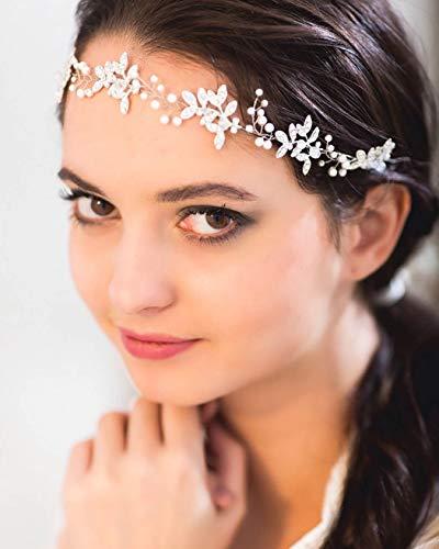 Unicra Brautschmuck Hochzeit Haarschmuck Weinrebe Silber Kristall Haarschmuck Blatt Braut Haarband für Frauen und Mädchen