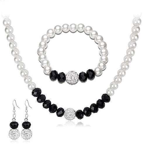 LPZW Creativo Collar de Perlas en Blanco y Negro de la joyería de la joyería de la joyería de la Novia de la Novia Pendientes de la Boda Collar de la Pulsera Set de Tres Piezas (Color : A)