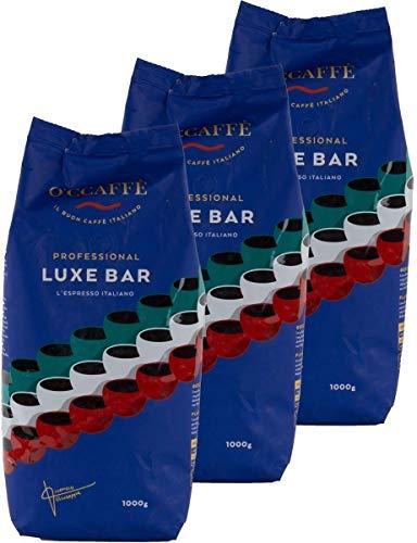 O'caffè Luxe Bar Intenso Espresso | Traditionell itialienischer Kaffee | besonders dauerhafte Crema aus 100% Robusta | 1kg ganze Bohnen