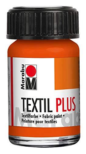 Marabu Textil Plus Scuri, 15 ml, Colore Rosso Arancione, Adatto per la Pittura Stampa su Tessuto, Dopo Il Fissaggio, Lavabile Fino a 40
