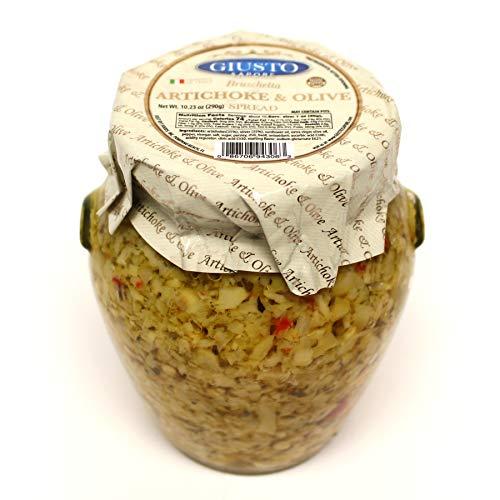 Giusto Sapore Artichoke & Olive Bruschetta Spread 10.23oz - Non GMO Italian Premium Gourmet Brand - Imported from Italy and Family Owned