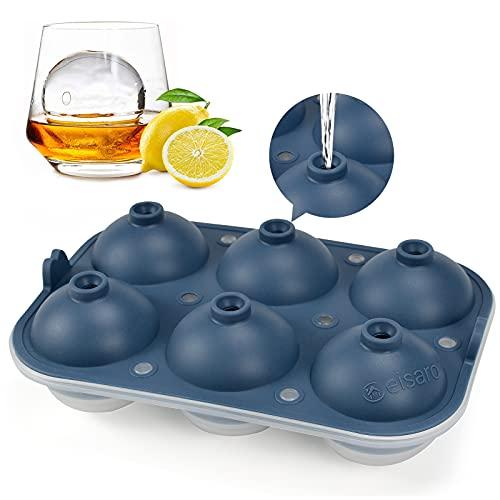 XXL Cubitera hielo hielera silicona, Bandeja de Hielo hieleras cubitos Molde para Hielo con tapa sin BPA con 6 Redondos Bolas de Hielo para Congelar Cola, Cócteles, Whisky y Vino