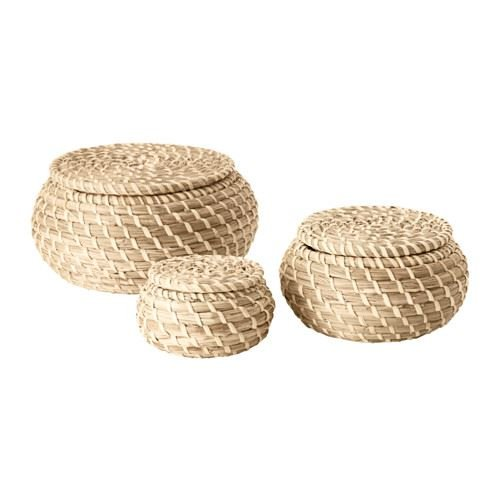 Ikea Seagrass Box with lid, Set of 3, sea Grass