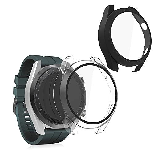 kwmobile 2X Carcasa Compatible con Huawei Watch 3 Pro - Funda con Vidrio Templado y Marco - En Negro/Transparente