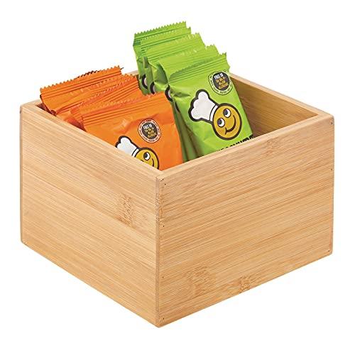 mDesign Organizer da cucina in bambù – Porta bustine da te impilabile in legno di bambù ecologico – Portaoggetti per la credenza della cucina, i cassetti e la dispensa – naturale