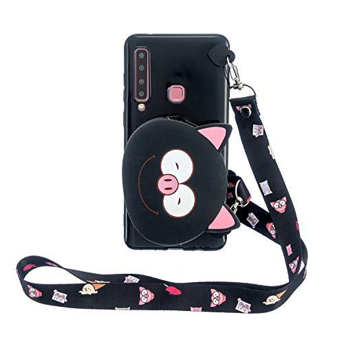 FNBK Brieftasche Hülle für Samsung Galaxy A9 2018 /A920, 3D Tiere Weich Karikatur Handbag Handyhülle Silikon Handytasche Case mit Trageschlaufe,Schön Kinder Mädchen Schutzhülle,Schwein