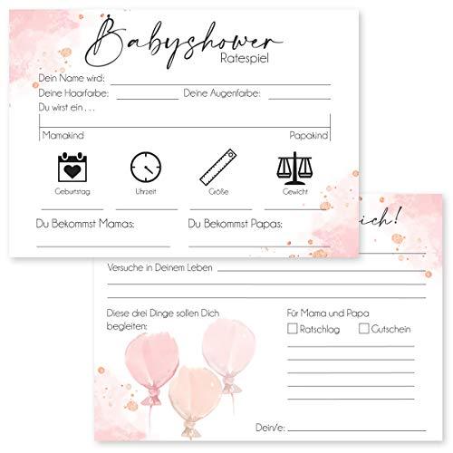 20 Hochwertige Babyshower Karten zum Ausfüllen - für Jungen und Mädchen I Perfektes Spiel für die Babyparty I Beidseitig bedruckt I Persönliches Geschenk für Schwangere - Design Rosa