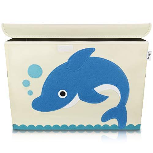 Lifeney Aufbewahrungsbox Kinder 51 x 36 x 36 cm I Kiste mit Deckel für Kinderzimmer I Aufbewahrungsbox mit Deckel für Kindersachen I Boxen Aufbewahrung mit...