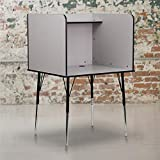 Flash Furniture Study Carrel with Adjustable Legs and Top Shelf in Nebula Grey Finish