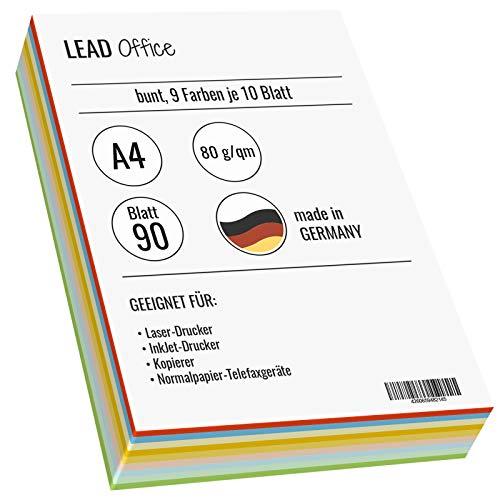 Druckerpapier farbig, Kopierpapier, Bastelpapier: 80g/qm, A4 80 Blatt, matt, bunt