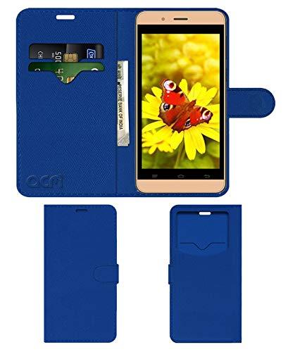 Acm Leather Window Flip Wallet Front & Back Case Compatible with Intex Aqua Pro 4g Mobile Cover Blue