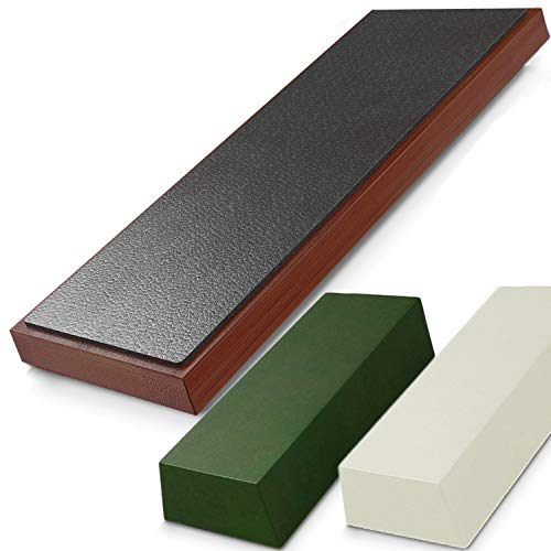Leather Strop and Stropping Compound Set – Complete Knife Strop Block Kit for Sharpening Knives and Chisels with Green & White Honing Compounds for Chef Level results