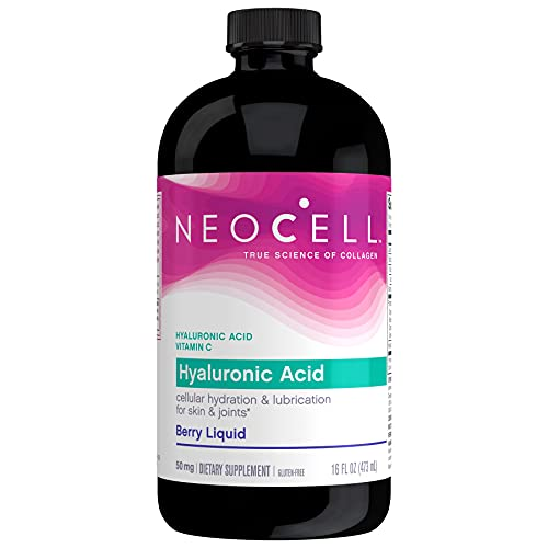 NeoCell Hyaluronic Acid Berry Liquid, Cellular Hydration & Lubrication for Skin 16 Ounce Bottle (Package May Vary)
