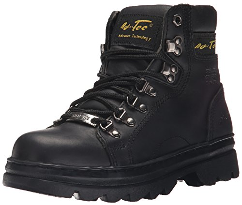 Ad Tec Womens 6 in Industrial and Construction Leather Work Boots, Black - Steel Toe, Lace Up Closer, Durable Slip Resistant Rubber Out Sole (Black, Numeric_8_Point_5)