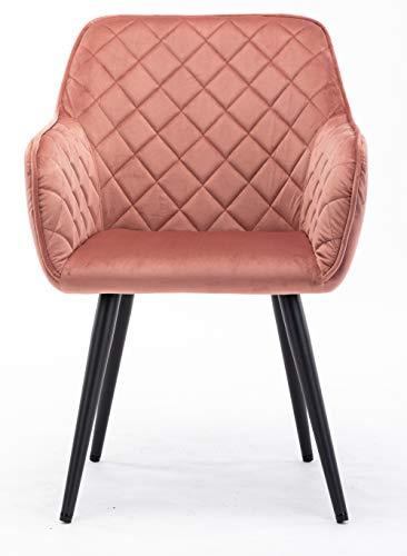 HNNHOME Dalton - Silla de comedor tapizada con brazos y respaldo, patas de metal fuerte, sillón de salón o recepción, sillón (rosa, terciopelo)