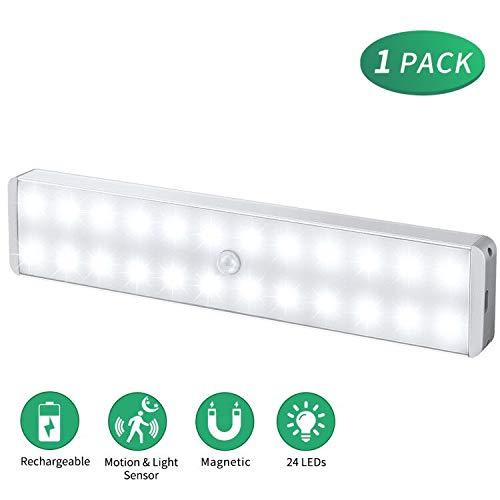 Illuminazione senza fili, luce LED con sensore di movimento per armadio, 24 LED, ricaricabile, ideale per bar, cucina, guardaroba, scale, corridoio (1 Pezzi)
