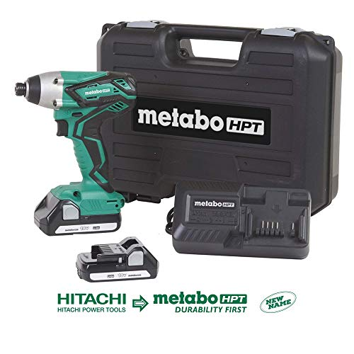 """Metabo HPT 18V Cordless Impact Driver Kit, Two Lithium Ion Batteries, Powerful 1, 280 In/Lbs Torque, Responsive Variable Speed Trigger, LED Light, Keyless ¼"""" Chuck, Lifetime Tool Warranty (WH18DGL)"""