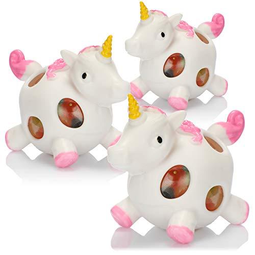 com-four® 3X Anti-Stress-Figur - Squeeze Spielzeug Einhorn - Quetsch-Ball für Kinder und Erwachsene (03 Stück)