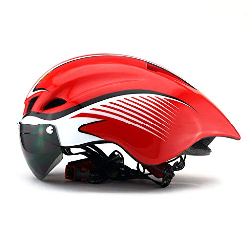 LXMJ-HELM Außenreit Aerodynamischer Helm Rennrad Mountainbike Integrierte Form mit Brille Helm Männlich/Weiblich Universal Reitausrüstung 57-61 cm Rot Weiß