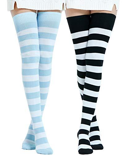 Kayhoma Extra Long Cotton Stripe Thigh High Socks Over the Knee High Socks