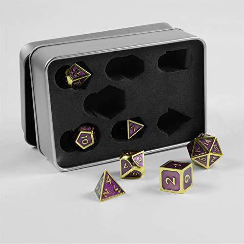 shibby 7 polyedrische Metall-Würfel für Rollen- und Tabletopspiele in Steampunk Gold-Lila-Optik inkl. Aufbewahrungsbox, 60014973