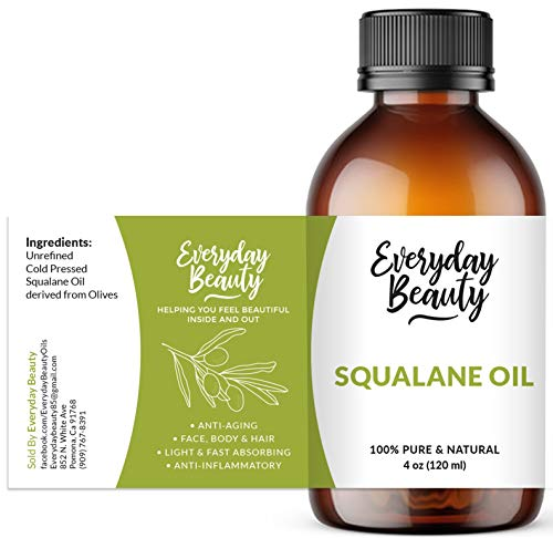 Squalane Oil - 100% Pure & Natural Plant Derived Facial Oil 4oz - Cold Pressed and Unrefined Premium Grade Multipurpose Moisturizing Oil For Skin and Hair