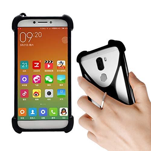 Lankashi Schwarz Silikon Schutz Tasche Hülle Hülle Ring Halter Ständ Cover Etui Handyhülle Handytasche Für NUU G3 G2 G1 X5 X4 X1 Nextbit Robin CTC Smartphone 3G Meiigoo Note 8 Mate 10 S8 S9 Universal