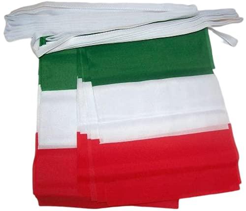 AZ FLAG Ghirlanda 4 Metri 20 Bandiere Italia 15x10cm - Bandiera Italiana 10 x 15 cm - Festone BANDIERINE