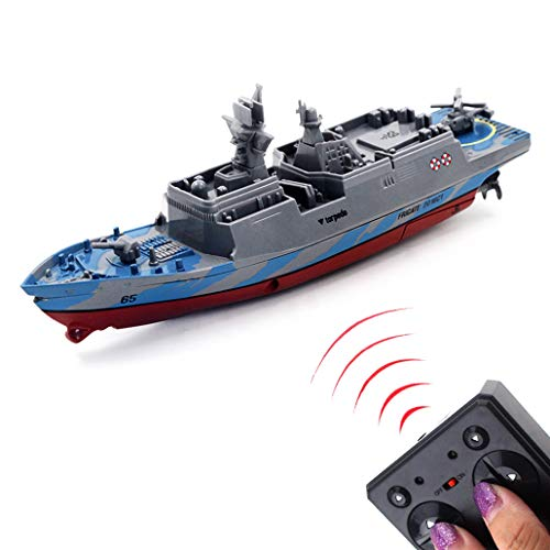 Tipmant Military RC Naval Ship Vessel Model Remote Control Boat Speedboat Yacht Electric Water Kids Toy (Grey)