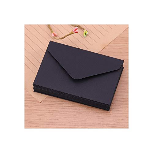 20 sobres clásicos de papel de estraza en blanco y negro para invitaciones de boda, sobres de regalo, color negro