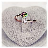 女性のローズゴールドカラーの結婚指輪のための指の立方体ジルコニアリング婚約リングクリスタルリング調節可能なジュエリー (色 : Resizable)