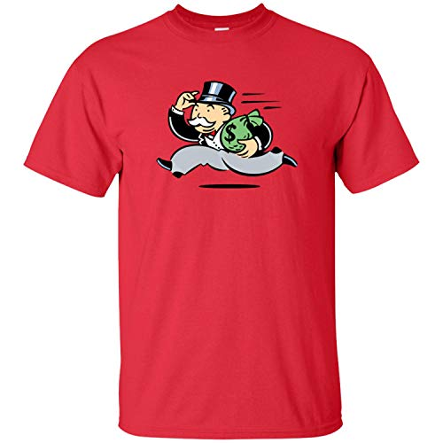 Wealthy, Money, Tycoon, Rich, Monopoly, Robber Baron, Funny, Cartoon, Retro Men's T-Shirt,Red,XXX-Large