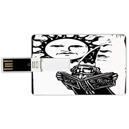 64GB Chiavette USB a forma di carta di credito Fantasia Memory Card stile carta di credito Stregone che legge il libro magico sotto il sole con il volto Sacra Leggenda Immagine Decorativa,Nero Bianco