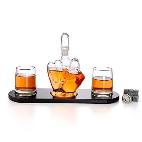 Finger Wine Glass Bottiglia di Vino Set di Vetro Bar Forniture Vino Rosso Decanter aeratore Roccia del Dispositivo di Raffreddamento Whiskey Bottiglia Cristallo Regali creativi (Color : Set)