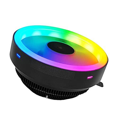 MERIGLARE Enfriador de CPU 120 mm 12V / 80W Placa Base Aluminio Enchufe Universal silencioso Iluminación RGB Colorida Radiador Disipador de Calor Ventilador de - Bucle RGB Continuo