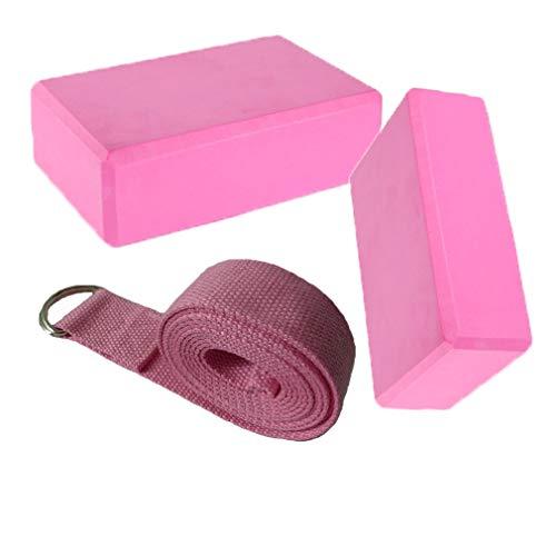 Fauhsto 2pcs Yoga Bloques Blocks + 1 Yoga Strap Set Eco Friendly Lightweight EVA Foam...