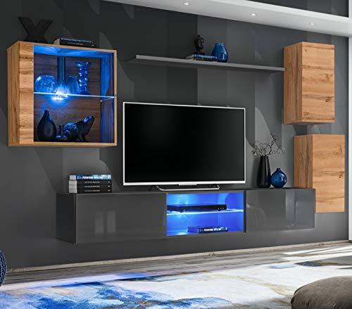 ASM SWITCH XXIII Wohnwand 250cm breit TV Ständer Display Glasschrank PUSH-CLICK Türen LED Leuchten Wotan Eiche Grau Hochglanz