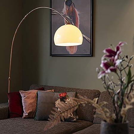 Qazqa Lampadaire | Lampe sur pied à arc Rustique Moderne - Arc-basic Lampe Blanc Cuivre - E27 - Convient pour LED - 1 x 20 Watt