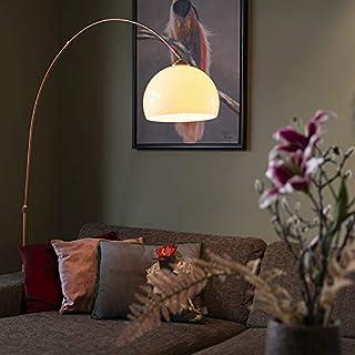 Qazqa Lampadaire | Lampe sur pied à arc Rustique Moderne - Arc-basic Lampe Blanc Cuivre - E27 - Convient pour LED - 1 x 20...